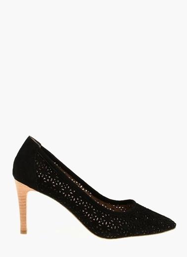 Divarese Desenli Süet Stiletto Ayakkabı Siyah
